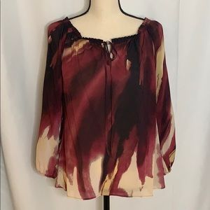 Alice + Olivia Silk Blend Blouse with Tie Detail